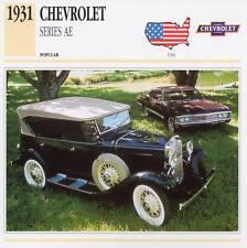 1931 CHEVROLET Series AE Classic Car Photograph / Information Maxi Card