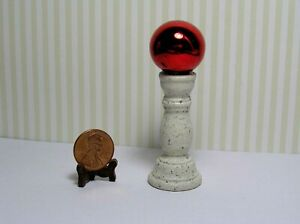Miniature Dollhouse Red Gazing Ball on Light Speckled Textured  Base