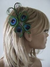 MADE IN UK Peacock Feather Fascinator Hair Clip Navy Blue Green Butterfly Bridal