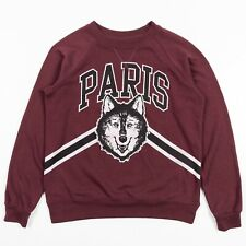 Paris Wolf Sweatshirt Hoodie by Freeze Color Maroon Crew Neck Adult Size Small