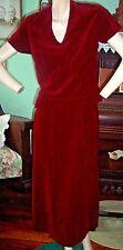 1950's wiggle VTG red velvet pencil straight skirt top burgundy 2 pc S/M pin up