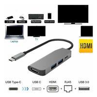 4in1 Typ C zu HDMI USB C USB 3.0 RJ45 Adapter Hub Für Macbook Pro iPad Pro