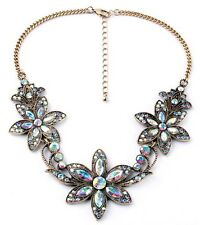 Fashion Vintage Women Crystal Chain Pendant Necklace Choker Statement Bib Flower