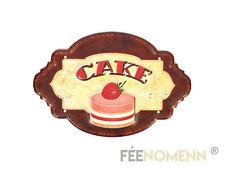 Plaque Métal Déco Vintage - EFFET RELIEF - CAKE / Gâteau Mousse Fruit (30x20cm)