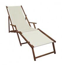 Transat pour jardin blanc repose-pied Chaise longue hêtre lit soleil bois 10-303