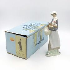 """LLADRO #4591 GIRL WITH COCKEREL BASKET ROOSTER 9"""" FIGURINE SPAIN W/ BOX RETIRED!"""
