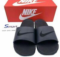 NIB SIZES 14-15 MEN Nike Air Kawa Slides Sandals Logo Swoosh BLACK OUT Slippers