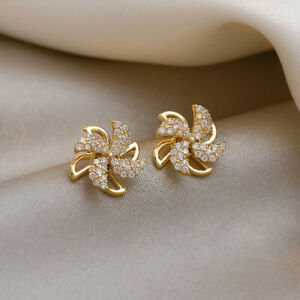 Fashion 18K Gold Stud Earrings for Women Cubic Zirconia Engagement Party Jewelry