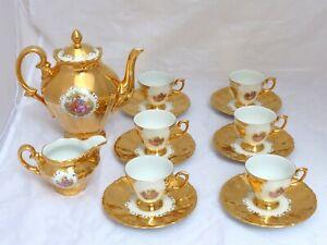 Gorgeous Romantic French Porcelain Enameled Gold Gilt Moka Coffee Demitasse Set