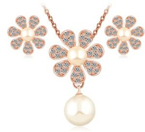 crystal pearl necklace and earring set rose gold wedding bridal birthday 749