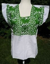 Maya Mexican Blouse Top Embroidered Flowers Huipil Chiapas White Green S/M C020