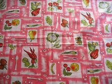 "coupon tissu   "" fruits,légumes ""  80 X 125 cm"