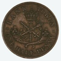 Raw 1857 Bank Of Upper Canada 1/2 Penny Token