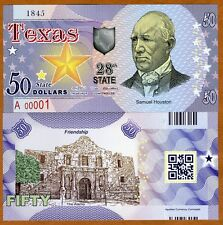 USA States, Texas, $50, Polymer, ND (2017), UNC > Samuel Houston, The Alamo