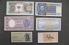 Lot de 6 billets de banque divers pays étrangers. Etat neuf.