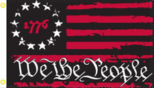 Betsy Ross 1776 We The People Black & Red Usa American 2X3 Flag Rough Tex® 100D