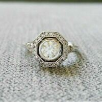14K White Gold Finish 2 Ct Round Cut Diamond Vintage Art Deco Wedding Women Ring