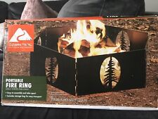 "27"" Fire Ring Portable Steel Folding Wood Burning Outdoor Fire Pit Heavy Duty"