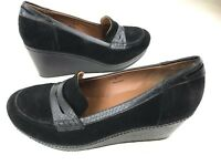 Donald J Pliner Women Wedge  Heel Slip On Shoe Size 9M Black Suede Leather