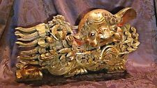 ANTIQUE 18c CHINESE WOOD CARVED LARGE TEMPLE FOO-LION W/BABY LION STATUE