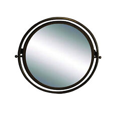 Circular Mirror in Painted Dark Aged Gold Finish Swivel Wall Mounted Mirror