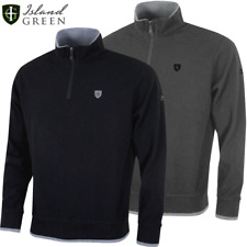 ISLAND GREEN BONDED KNIT 1/4 ZIP MENS GOLF JUMPER / SWEATER @ 50% OFF RRP