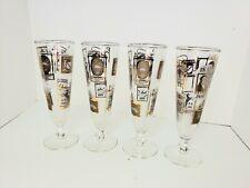 "Vintage Libbey Gold/White Embossed ""Inns & Pubs"" Pilsner Glasses Footed Glasses"