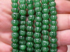 (cA9431) Gemstone Emerald 7 inch (17,5 cm) Hand Carved  beads 7-9mm