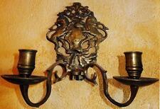 LÖWEN WAPPEN WANDBLAKER KIRCHEN ALTAR KERZEN LEUCHTER LAMPE WEIHNACHT antik