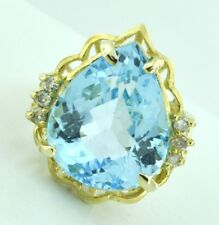 10.04ct 14k Solid Yellow Gold Ladies Pear Shape Blue Topaz Diamond Ring Cocktail