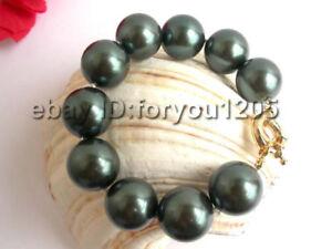HUGE!Natural 20mm Tahiti Black Shell Pearl Bracelet!