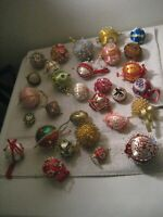 117 Vintage Beaded Sequin Push Pin Hand Made Christmas Ornament Lot