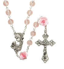 """Pink Rose Prayer Bead Rosary with Madonna and Child Centerpiece, 21""""  (WS310)"""