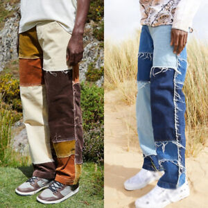 Mens Casual Patchwork Ripped Distressed Jeans Denim Long Pants Hip Hop Trousers