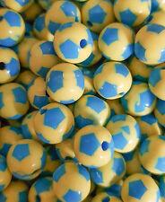 10 Perles Ballon de football Jaune - Bleu Acrylique 12mm bijoux, attache tetine