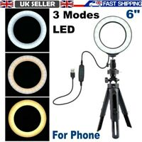 Ring Light 6inch With Tripod Stand Cell Phone Holder USB 3 Modes LED Light