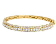 Ladies 14k Yellow Gold Real 10 PTS Solitaire Diamond Bangle Bracelet 4 2/3 Ct