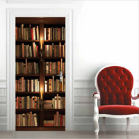 3D Self Adhesive Vintage Bookshelf Candle Book Door Sticker Wall Mural Wallpaper