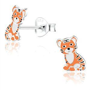 925 Sterling Silver Orange Tiger Enamel Stud Earrings Animals Kids Girls Cute