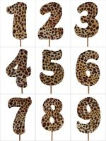 "LEOPARD Print Design Birthday NUMBER Cake Topper 5.5"" Tall Choose Number"