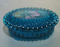 Fenton Teal Blue Oval Hand painted Trinket Box