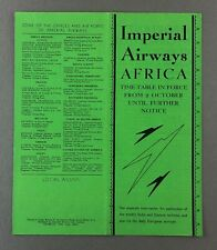IMPERIAL AIRWAYS AFRICA OCTOBER 1934 AIRLINE TIMETABLE