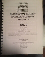 Buckingham Branch Employee Timetable #6 29 OCT 2007 BBRR ETT