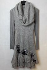 Italian knitted dress in Grey marl with tapework decoration fully lined size 8