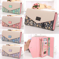 Womens Ladies Floral Leather Clutch Wallet Phone Card Holder Long Purse Handbag