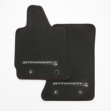 14-18 Corvette Stingray C7 Carpet Floor Mats 23112198 Black w/ Logo Red Stitch
