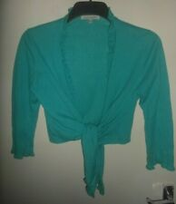 LAURA ASHLEY WOMENS TEAL GREEN CROPPED FINE KNIT TIE BALLERINA CARDIGAN SIZE 12