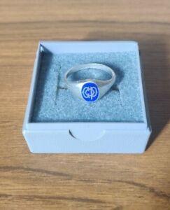 """Vintage Sterling Silver Signet Ring Blue Enamel """"COP"""" Size O 1/2"""