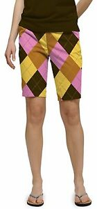 Loudmouth golf womens BERMUDA SHORTS Cupcakes BROWN YELLOW PINK plaid 2671