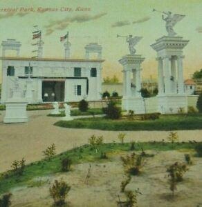 Vintage Early 1900's Postcard Kansas A Scene Carnival Park 52-A Statue Figures